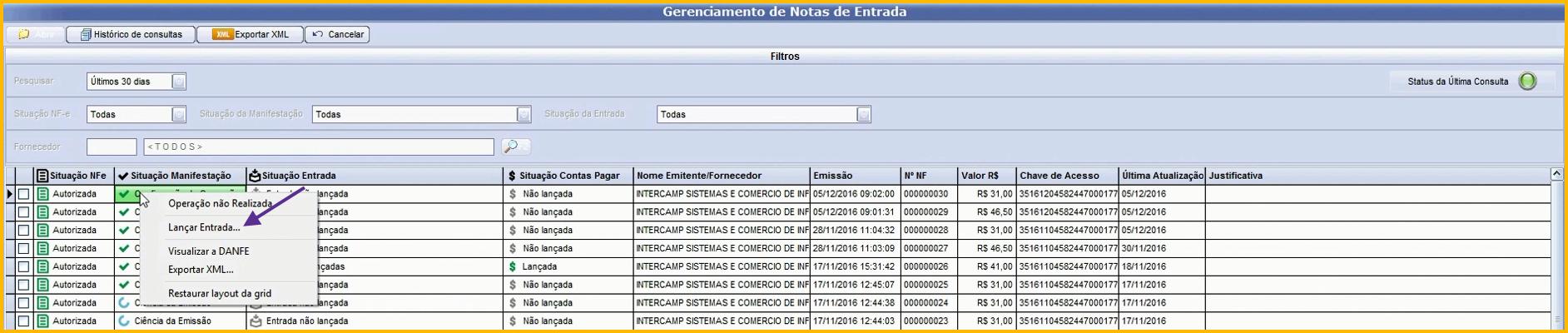 261b0f48b Caso o fornecedor não esteja cadastrado, ao clicar na opção Lançar Entrada,  o sistema irá solicitar que o usuário confirme o cadastro.